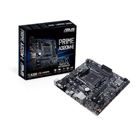 Asus PRIME A320M-E Processor family AMD, Processor socket AM4, DDR4-SDRAM 2133,2400,2666,2933,3200 MHz, Memory slots 2, Supported hard disk drive interfaces M.2, Number of SATA connectors 6, Chipset AMD A, Micro ATX