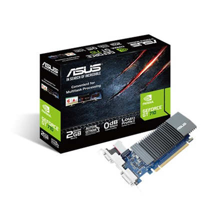 Asus NVIDIA, 1 GB, GeForce GT 710, GDDR5, PCI Express 2.0, Cooling type Passive, Processor frequency 954 MHz, VGA (D-Sub) ports quantity 1, DVI-D ports quantity 1, HDMI ports quantity 1, Memory clock speed 5012 MHz