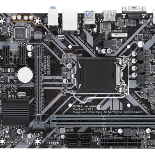 Gigabyte H310M H 1.1 Processor family Intel, Processor socket LGA1151, DDR4, Memory slots 2, Supported hard disk drive interfaces SATA, Number of SATA connectors 4, Chipset Intel H, Micro ATX