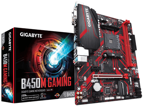 Gigabyte B450M GAMING 1.0 M/B Processor family AMD, Processor socket AM4, DDR4 DIMM, Memory slots 2, Number of SATA connectors 4, Chipset AMD B, Micro ATX