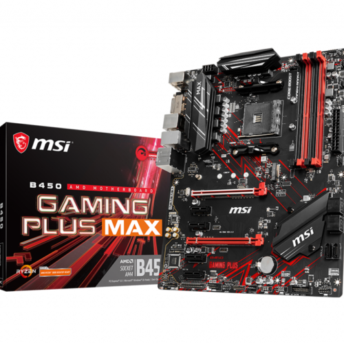 MSI B450 GAMING PLUS MAX Processor family AMD, Processor socket AM4, DDR4 DIMM, Memory slots 4, Number of SATA connectors 6 x SATA 6Gb/s, Chipset AMD B, ATX