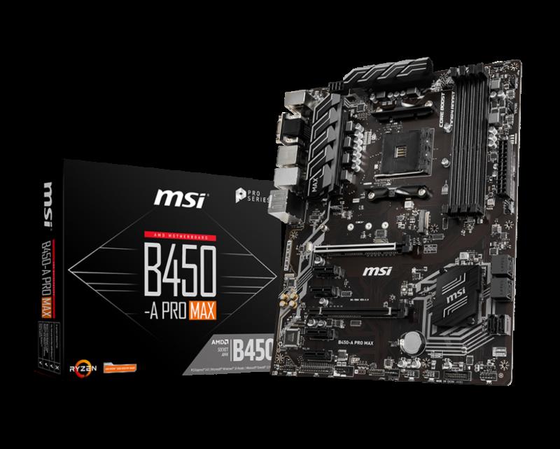 MSI B450-A PRO MAX Processor family AMD, Processor socket AM4, DDR4, Memory slots 4, Chipset AMD B, ATX