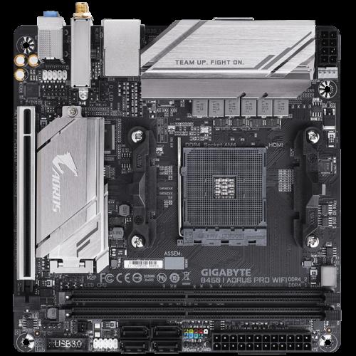 Gigabyte B450 I AORUS PRO WIFI Processor family AMD, Processor socket AM4, DDR4 DIMM, Memory slots 2, Chipset AMD B, Mini ITX