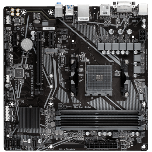 Gigabyte A520M DS3H Processor family AMD, Processor socket AM4, DDR4 DIMM, Memory slots 4, Number of SATA connectors 4, Chipset AMD A, Micro ATX