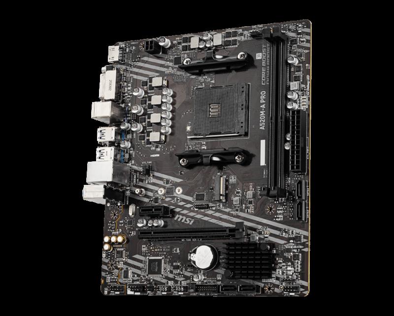 MSI A520M-A PRO Processor family AMD, Processor socket AM4, DDR4, Memory slots 2, Chipset AMD A, Micro ATX