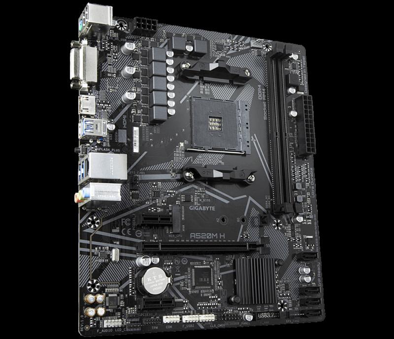 Gigabyte A520M H 1.0 Processor family AMD, Processor socket AM4, DDR4 DIMM, Memory slots 2, Chipset AMD A, Micro ATX