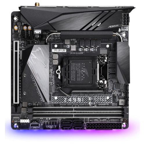 Gigabyte Z490I AORUS ULTRA 1.1 Processor family Intel, Processor socket LGA1200, DDR4 DIMM, Memory slots 2, Number of SATA connectors 4 x SATA 6Gb/s connectors, Chipset Intel Z, Mini ITX