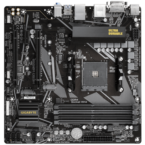 Gigabyte B550M DS3H 1.0 Processor family AMD, Processor socket AM4, DDR4 DIMM, Memory slots 4, Number of SATA connectors 4 x SATA 6Gb/s connectors, Chipset AMD B, Micro ATX