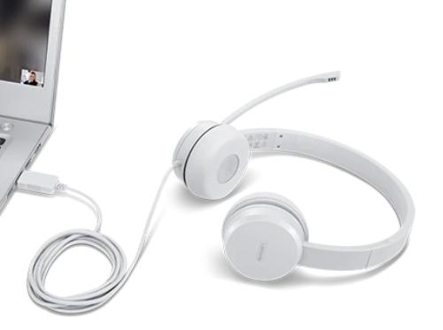 Lenovo Accessories 110 Stereo USB Headset Lenovo Stereo USB Headset 110 Microphone, USB 2.0 Type A, White