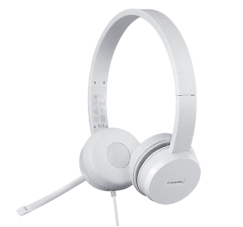 Lenovo Accessories 110 Stereo USB Headset Lenovo Stereo USB Headset 110 Microphone, USB 2.0 Type A, White