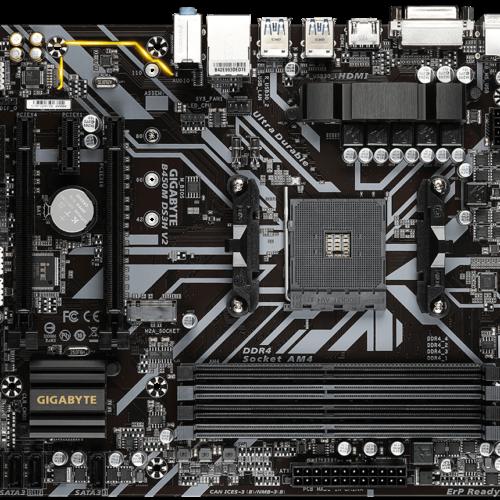 Gigabyte B450M DS3H V2 1.0 Processor family AMD, Processor socket AM4, DDR4 DIMM, Memory slots 4, Number of SATA connectors 4 x SATA 6Gb/s connectors, Chipset AMD B, Micro ATX
