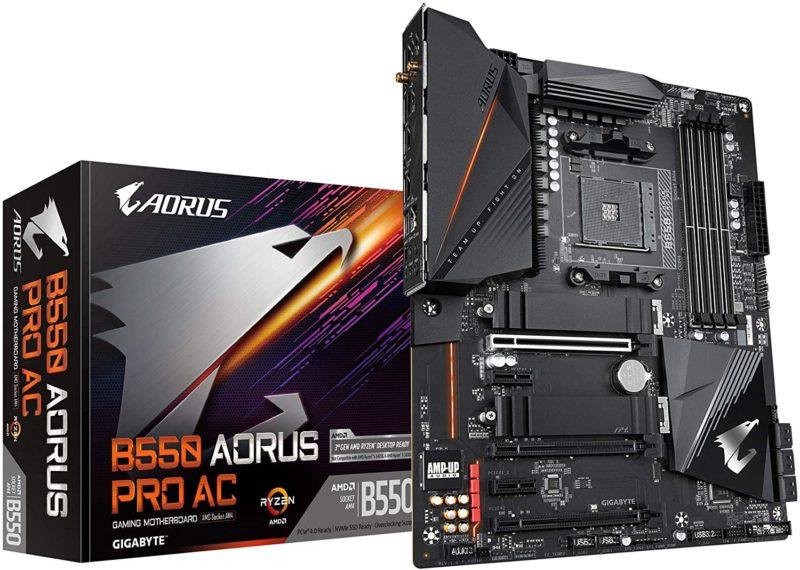 Gigabyte B550 AORUS PRO AC 1.0 M/B Processor family AMD, Processor socket AM4, DDR4 DIMM, Memory slots 4, Number of SATA connectors 6, Chipset AMD B, ATX
