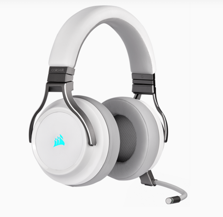 Corsair High-Fidelity Gaming Headset VIRTUOSO RGB WIRELESS Built-in microphone, White, Over-Ear