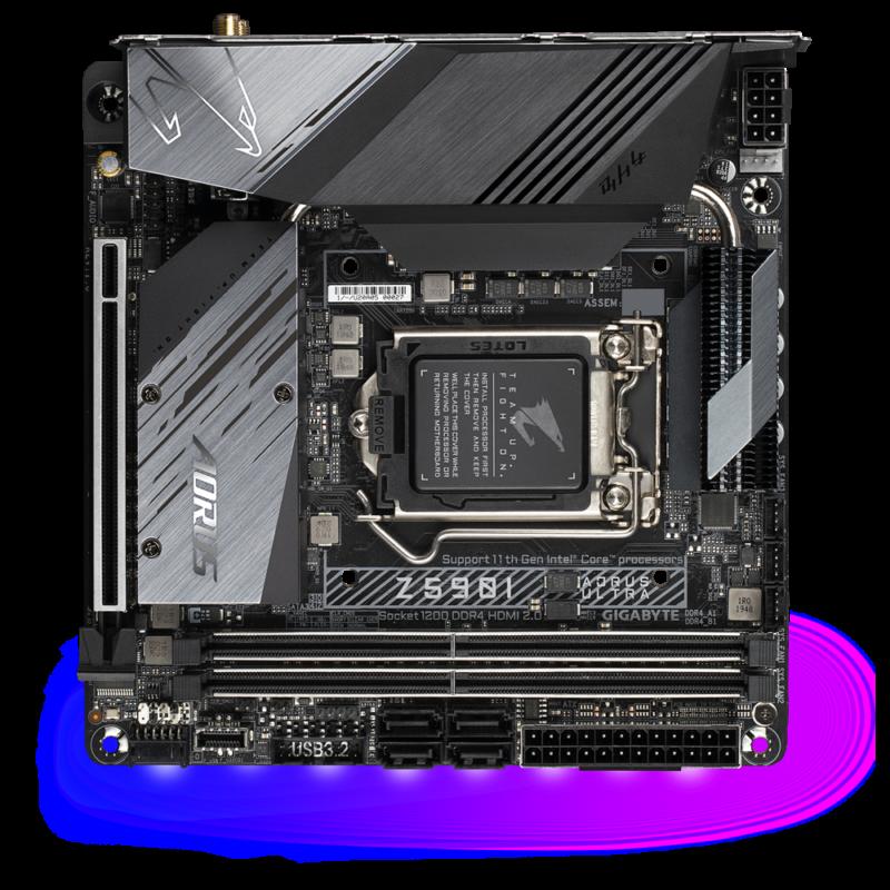 Gigabyte Z590I AORUS ULTRA Processor family Intel, Processor socket LGA1200, DDR4 DIMM, Memory slots 2, Number of SATA connectors 4 x SATA 6Gb/s connectors, Chipset Intel Z, Mini-ITX