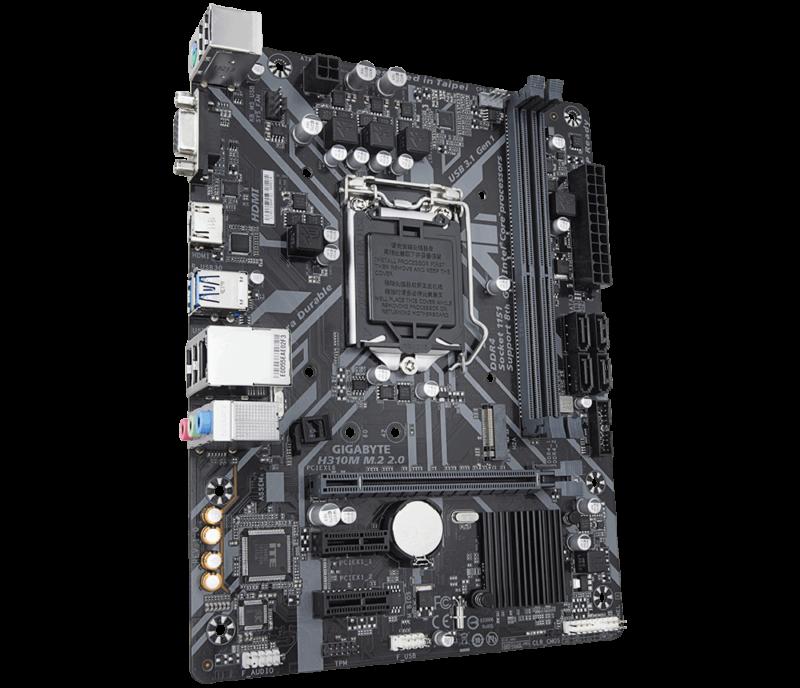Gigabyte H310M M.2 2.0 Processor family Intel, Processor socket LGA1151, DDR4 DIMM, Memory slots 2, Chipset Intel H, Micro ATX