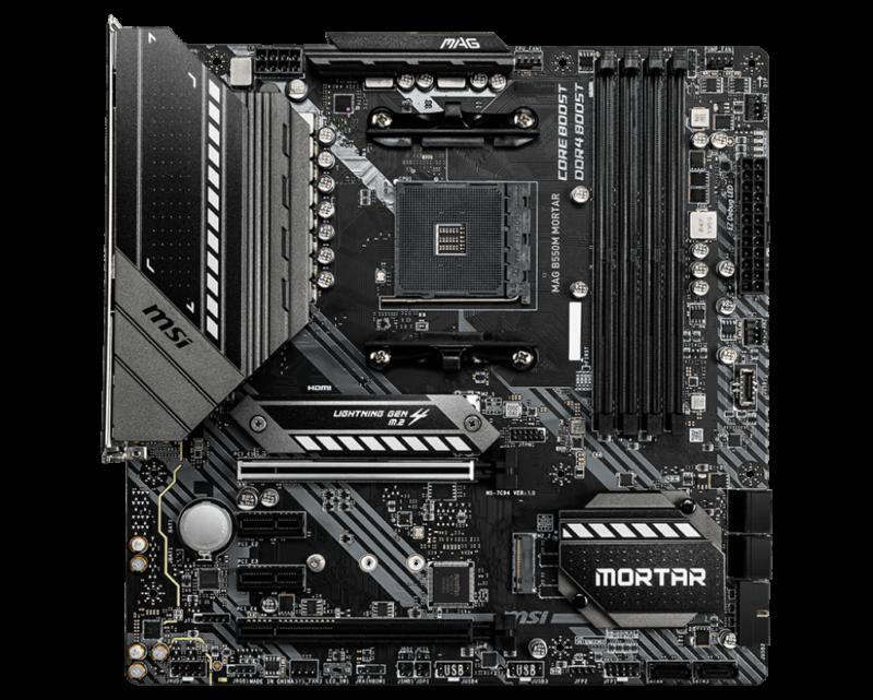 MSI MAG B550M MORTAR Processor family AMD, Processor socket AM4, DDR4, Memory slots 4, Supported hard disk drive interfaces SATA, M.2, Number of SATA connectors 6, Chipset AMD B, Micro ATX