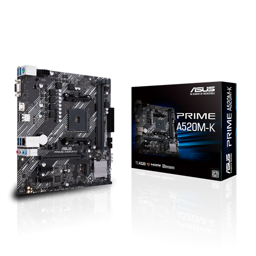 Asus PRIME A520M-K Processor family AMD, Processor socket AM4, DDR4, Memory slots 2, Supported hard disk drive interfaces M.2, SATA, Number of SATA connectors 4, Chipset AMD A, Micro ATX