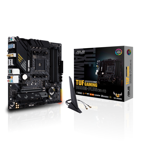 Asus TUF Gaming B550M-Plus (WI-FI) Processor family AMD, Processor socket AM4, DDR4, Memory slots 4, Supported hard disk drive interfaces M.2, SATA, Number of SATA connectors 4, Chipset AMD B, Micro ATX