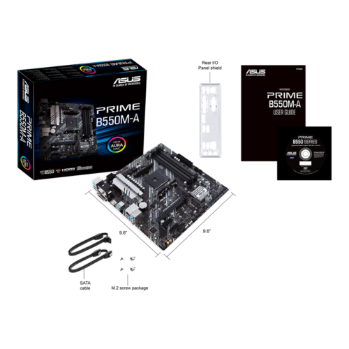 Asus PRIME B550M-A Processor family AMD, Processor socket AM4, DDR4, Memory slots 4, Supported hard disk drive interfaces M.2, SATA, Number of SATA connectors 4, Chipset AMD B, Micro ATX