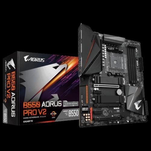 Gigabyte B550 AORUS PRO V2 1.0 Processor family AMD, Processor socket AM4, DDR4 DIMM, Memory slots 4, Chipset AMD B, ATX