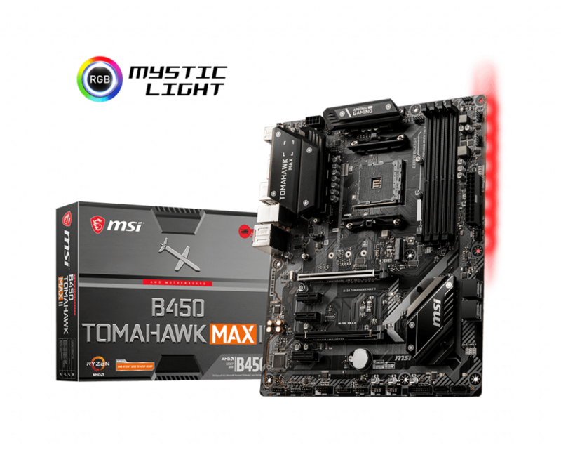 MSI B450 TOMAHAWK MAX II Processor family AMD, Processor socket AM4, DDR4, Memory slots 4, Number of SATA connectors 6, Chipset AMD B, ATX