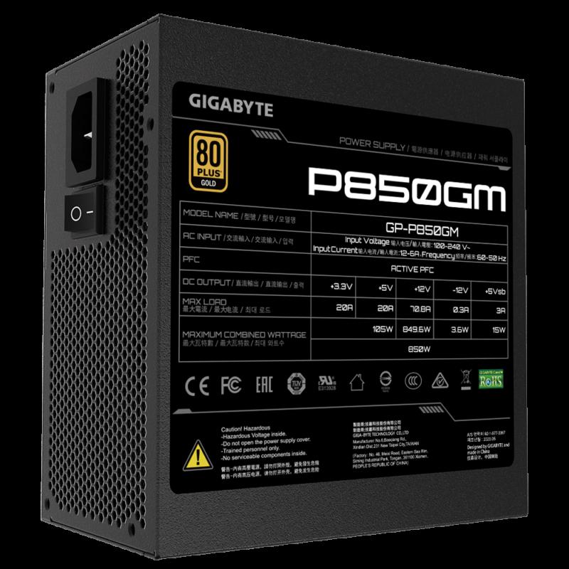 Power Supply GIGABYTE 850 Watts Efficiency 80 PLUS GOLD PFC Active MTBF 100000 hours GP-P850GM