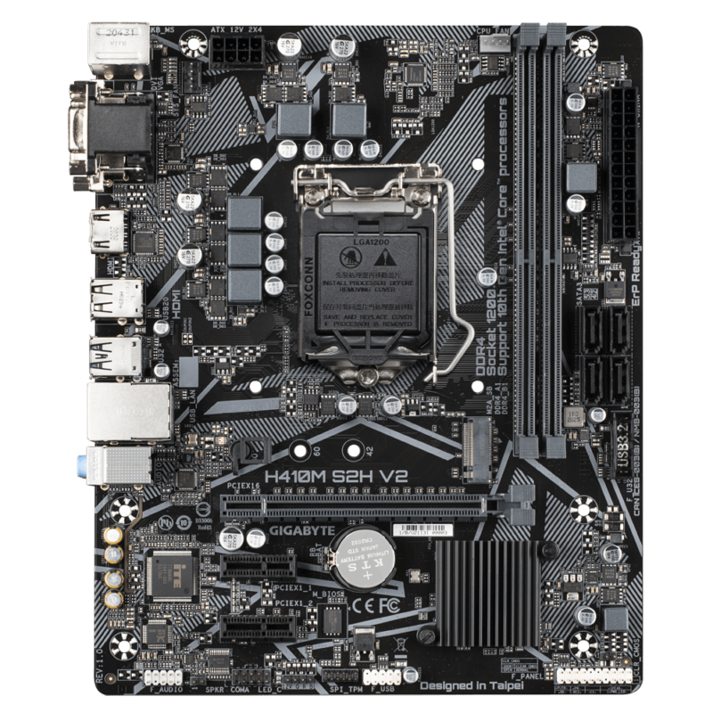 Gigabyte H410M S2H V2 1.0 M/B Processor family Intel, Processor socket LGA1200, DDR4 DIMM, Memory slots 2, Supported hard disk drive interfaces SATA, M.2, Number of SATA connectors 4, Chipset Intel H, Micro ATX
