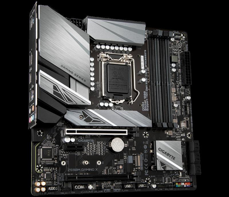 Gigabyte Z590M GAMING X 1.0 M/B Processor family Intel, Processor socket LGA1200, DDR4 DIMM, Memory slots 4, Number of SATA connectors 6 x SATA 6Gb/s connectors, Chipset Intel Z, Micro ATX