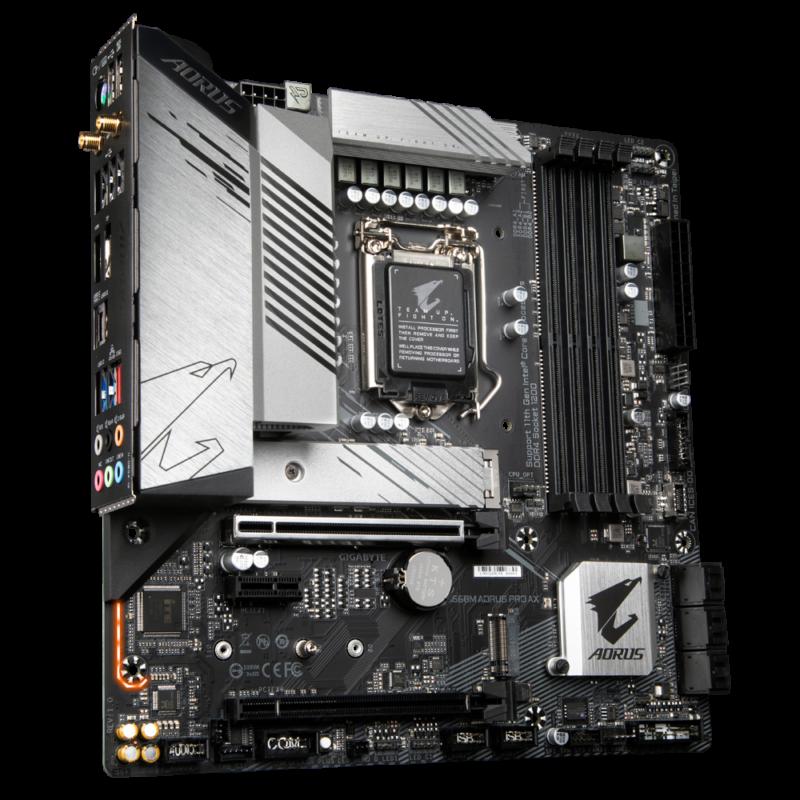 Gigabyte B560M AORUS PRO AX 1.0 M/B Processor family Intel, Processor socket LGA1200, DDR4 DIMM, Memory slots 4, Supported hard disk drive interfaces SATA, M.2, Number of SATA connectors 6, Chipset Intel B, Micro ATX