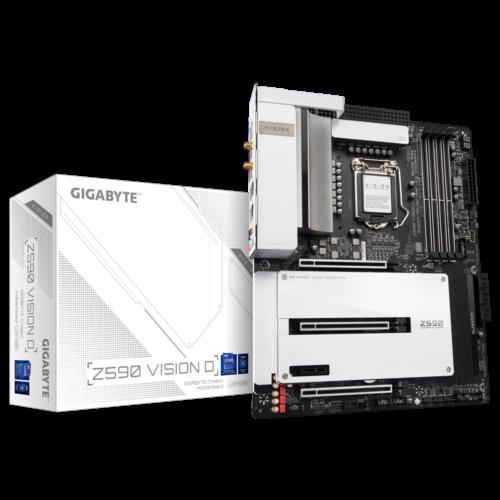 Gigabyte Z590 VISION D 1.0 M/B Processor family Intel, Processor socket LGA1200, DDR4 DIMM, Memory slots 4, Supported hard disk drive interfaces SATA, M.2, Number of SATA connectors 6, Chipset Intel Z, ATX