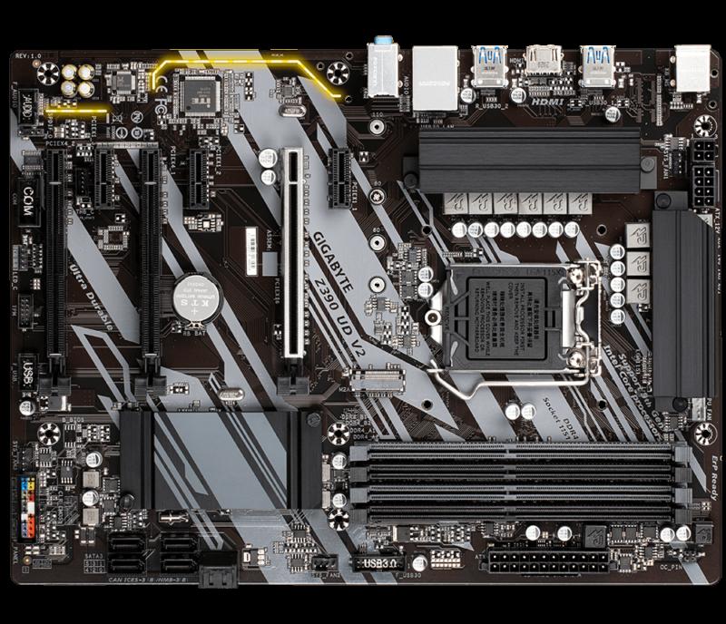 Gigabyte Z390 UD V2 1.0 M/B Processor family Intel, Processor socket LGA1151, DDR4 DIMM, Memory slots 4, Supported hard disk drive interfaces SATA, M.2, Number of SATA connectors 6, Chipset Intel Z, ATX
