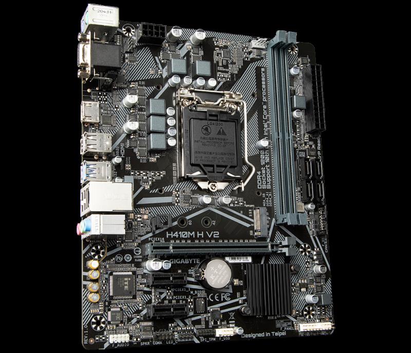 Gigabyte H410M H V2 1.0 M/B Processor family Intel, Processor socket LGA1200, DDR4 DIMM, Memory slots 2, Supported hard disk drive interfaces SATA, M.2, Number of SATA connectors 4, Chipset Micro ATX, Intel H