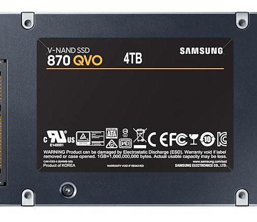 SSD|SAMSUNG|870 QVO|4TB|SATA 3.0|Write speed 530 MBytes/sec|Read speed 560 MBytes/sec|2,5″|MTBF 1500000 hours|MZ-77Q4T0BW