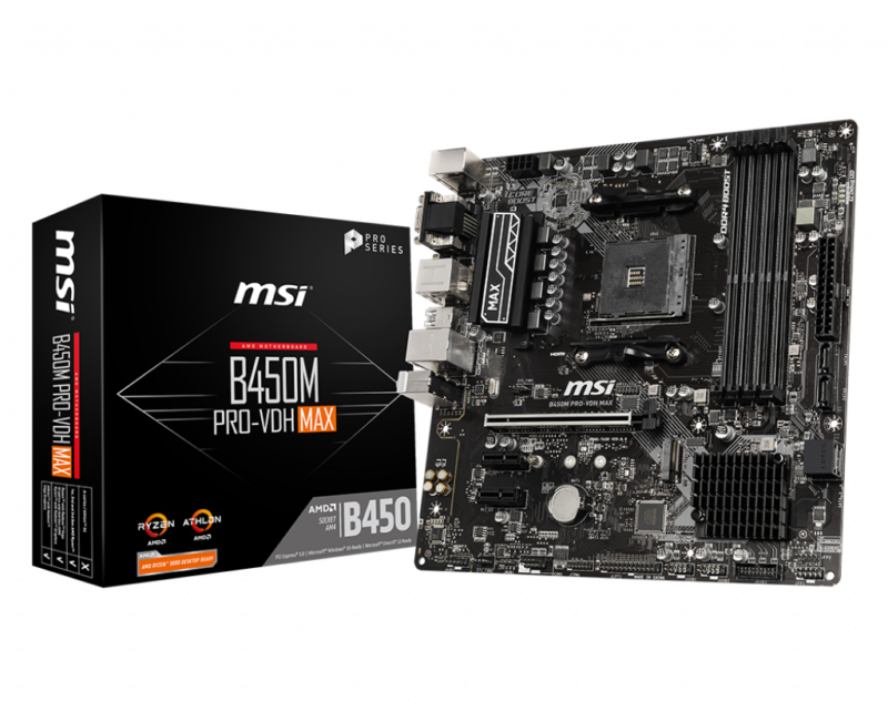 MSI B450M PRO-VDH MAX Processor family AMD, Processor socket AM4, DDR4 DIMM, Memory slots 4, Number of SATA connectors 4, Chipset AMD B, Micro ATX