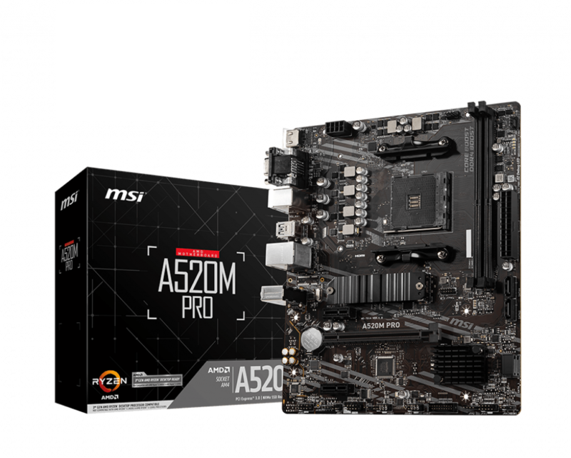 MSI A520M PRO Processor family AMD, Processor socket AM4, DDR4, Memory slots 2, Chipset AMD A, Micro ATX