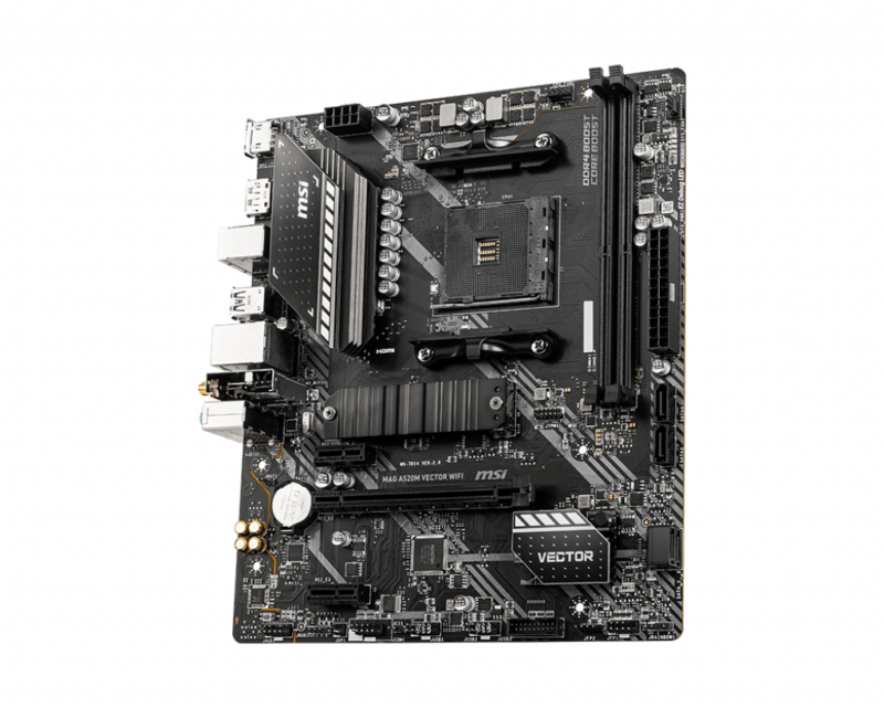 MSI MAG A520M VECTOR WIFI Processor family AMD, Processor socket AM4, DDR4, Memory slots 2, Chipset AMD A, Micro ATX