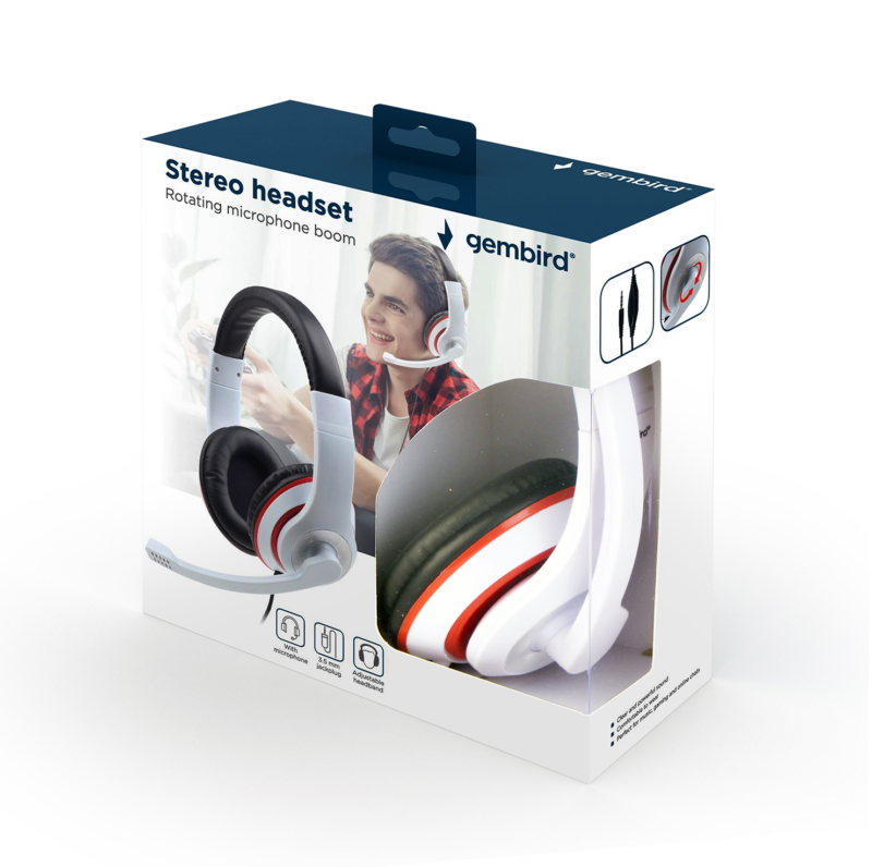 Gembird Stereo Headset MHS 03 WTRDBK White and Black Color with Red Ring, Headset