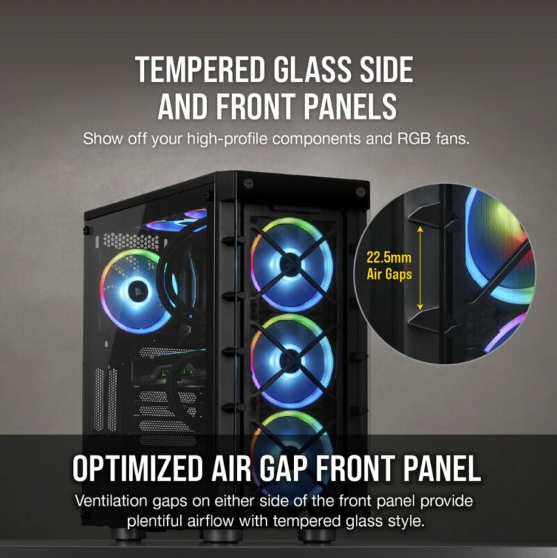 Corsair Mid-Tower ATX Smart Case iCUE 465X RGB  Side window,  Mid-Tower, Black, Power supply included No, Steel, Tempered Glass
