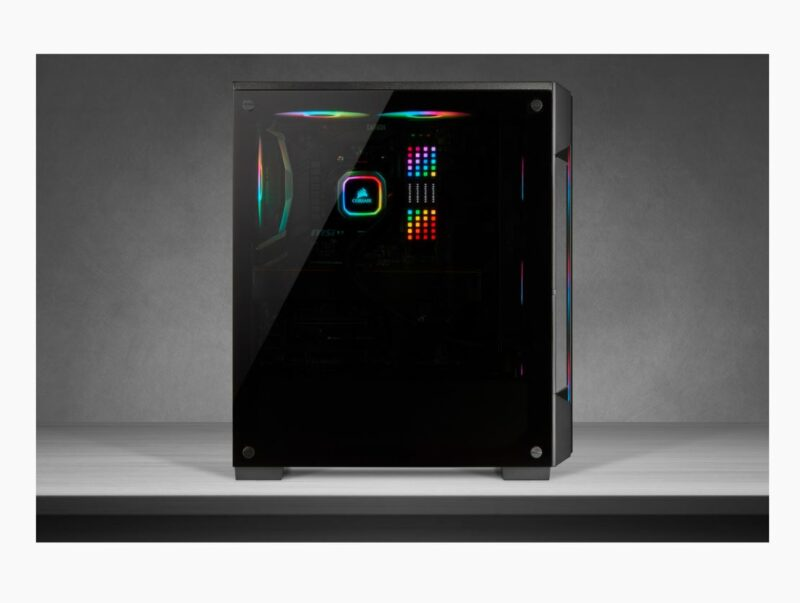 Corsair Tempered Glass Mid-Tower Smart Case iCUE 220T RGB Side window,  Mid-Tower, Black, Power supply included No, Steel, Tempered Glass