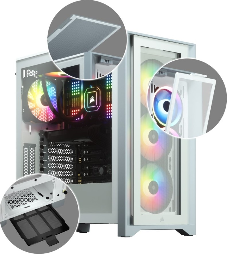 Corsair Tempered Glass Mid-Tower ATX Case iCUE 4000X RGB Side window,  Mid-Tower, White, Power supply included No, Steel, Tempered Glass, Plastic