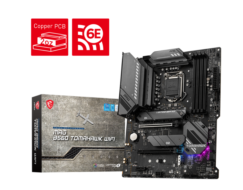 MSI MAG B560 TOMAHAWK WIFI Processor family Intel, Processor socket LGA1200, DDR4, Memory slots 4, Supported hard disk drive interfaces SATA, M.2, Number of SATA connectors 6, Chipset Intel B, ATX