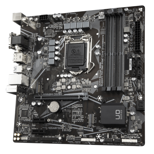 Gigabyte B560M DS3H 1.0 M/B Processor family Intel, Processor socket LGA1200, DDR4 DIMM, Memory slots 4, Supported hard disk drive interfaces SATA, M.2, Number of SATA connectors 6, Chipset Intel B, Micro ATX