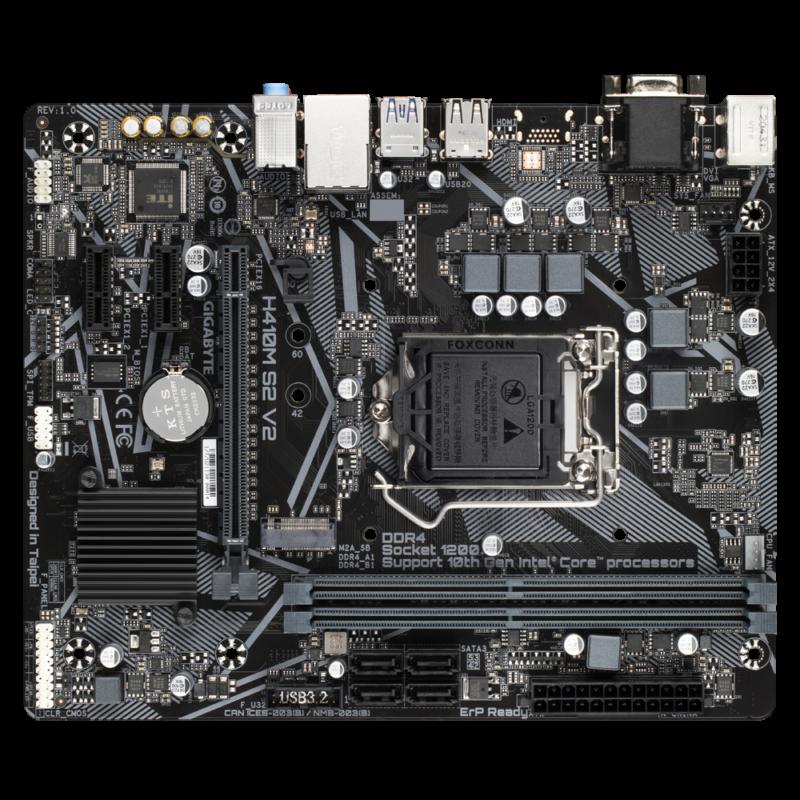 Gigabyte H410M S2 V2 1.0 M/B Processor family Intel, Processor socket LGA1200, DDR4 DIMM, Memory slots 2, Supported hard disk drive interfaces SATA, M.2, Number of SATA connectors 4, Chipset Intel H, Micro ATX