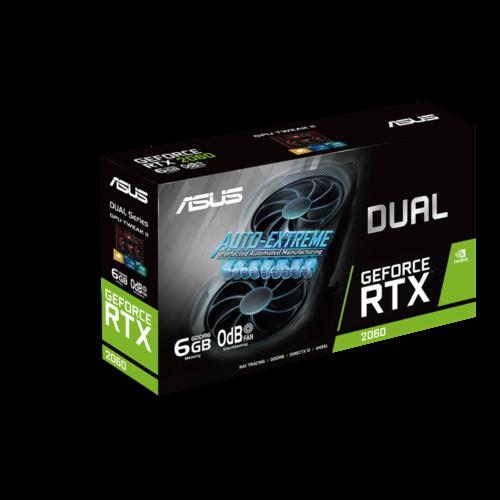 Asus DUAL-RTX2060-6G-EVO NVIDIA, 6 GB, GeForce RTX 2060, GDDR6, PCI Express 3.0, Processor frequency 1395 MHz, DVI-D ports quantity 1, HDMI ports quantity 2, Memory clock speed 14000  MHz