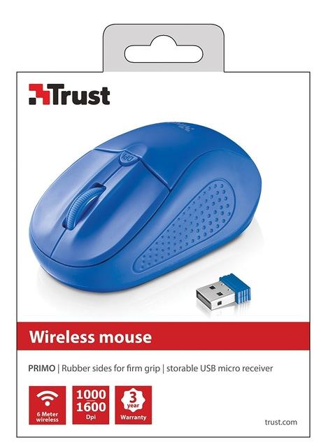 MOUSE USB OPTICAL WRL PRIMO/BLUE 20786 TRUST
