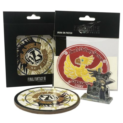 Final Fantasy VII Remake – Mini Acrylic Stand, Coasters 4-Pack and Iron on Patch