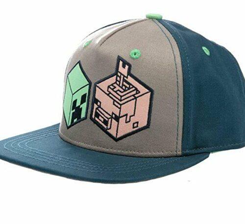 Baseball Cap: Minecraft – Creeper and Pig Head, Navy/Gray