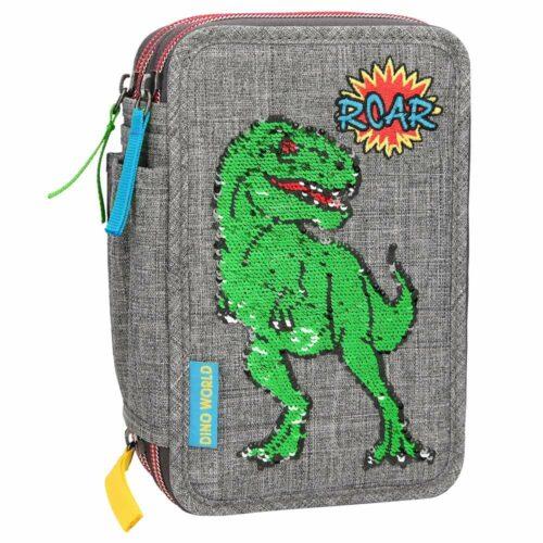 Dino World – Sequin Pattern Triple Pencil Case