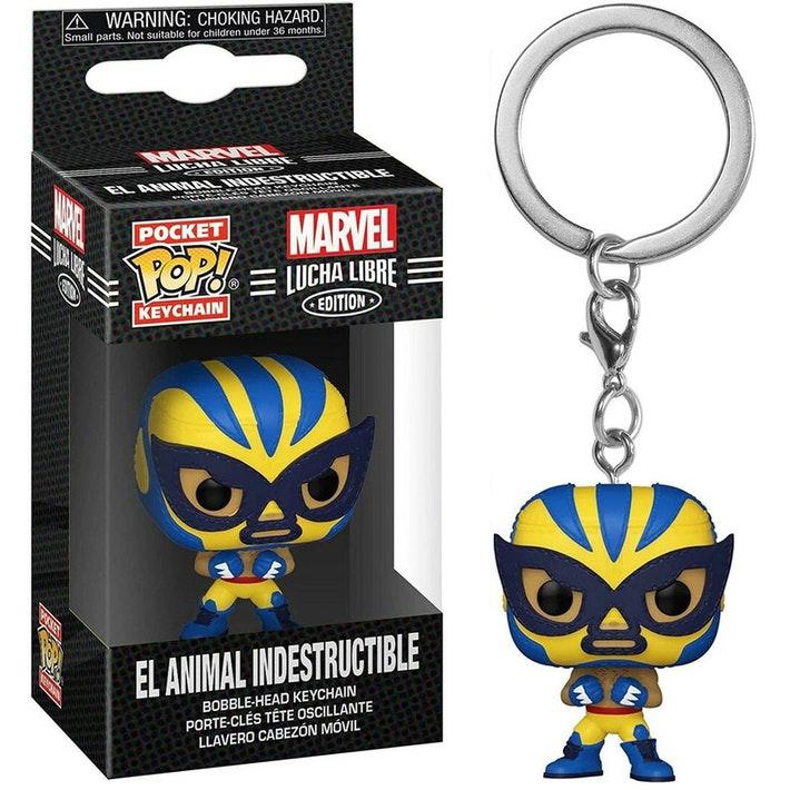 POP! Pocket Keychain: Marvel Lucha Libre Edition – El Animal Indestructible Bobble-Head