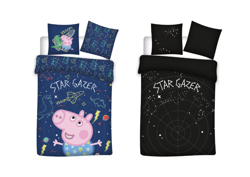 Bed Linen – Junior Size 100 x 140 cm – Glow in the dark – George Pig